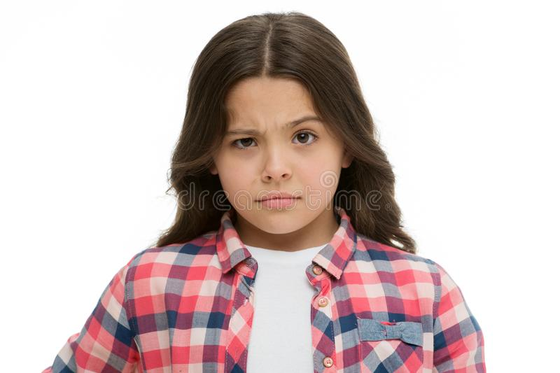 Let me think. Girl doubtful face suspect your. Child has doubts. Girl casual outfit thoughtful face has serious doubts royalty free stock photo