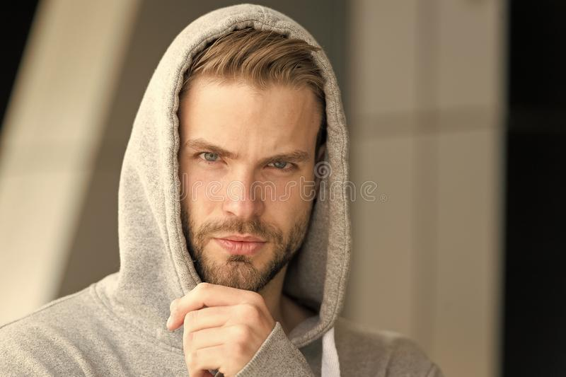 Let me think. Guy bearded thoughtful touches bristle on chin. Thoughtful mood concept. Man with beard or unshaven guy. Looks handsome hooded. Man with bristle royalty free stock photo