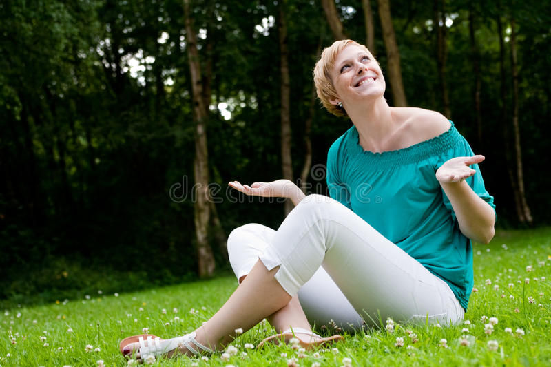 Download Let it rain stock image. Image of girl, park, woman, smiling - 10747039