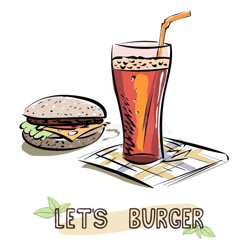 Let`s Burger sketch. Burger and glass of lemonade on napkin. Vector vector illustration