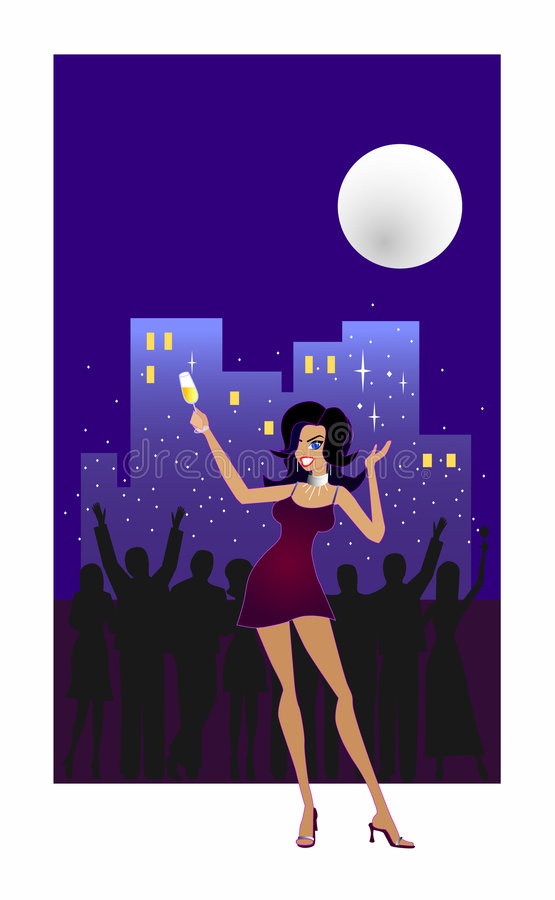 Let's Celebrate!. An illustration of a happy woman raising her glass of champagne and partying outdoors at an apartment balcony. A silhouette of a party crowd in
