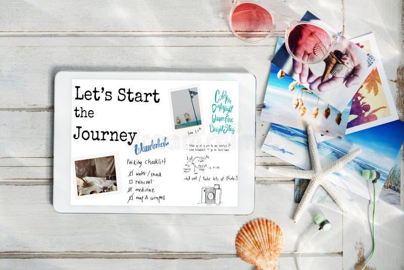 Let& x27 ; s commencent le concept de voyage de voyage image libre de droits