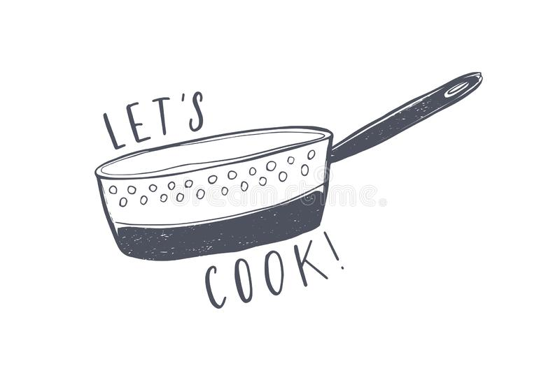 Let`s Cook motivational phrase written with elegant font and decorated by colander. Stylish lettering and kitchen. Utensil for cooking isolated on white royalty free illustration
