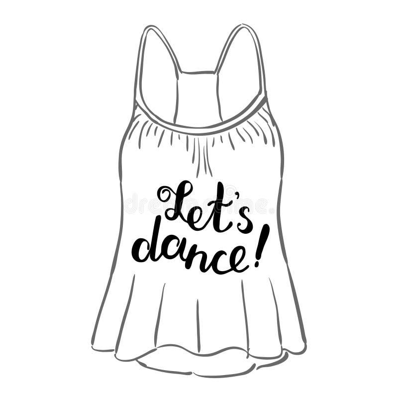 Let s dance. Brush hand lettering. stock illustration