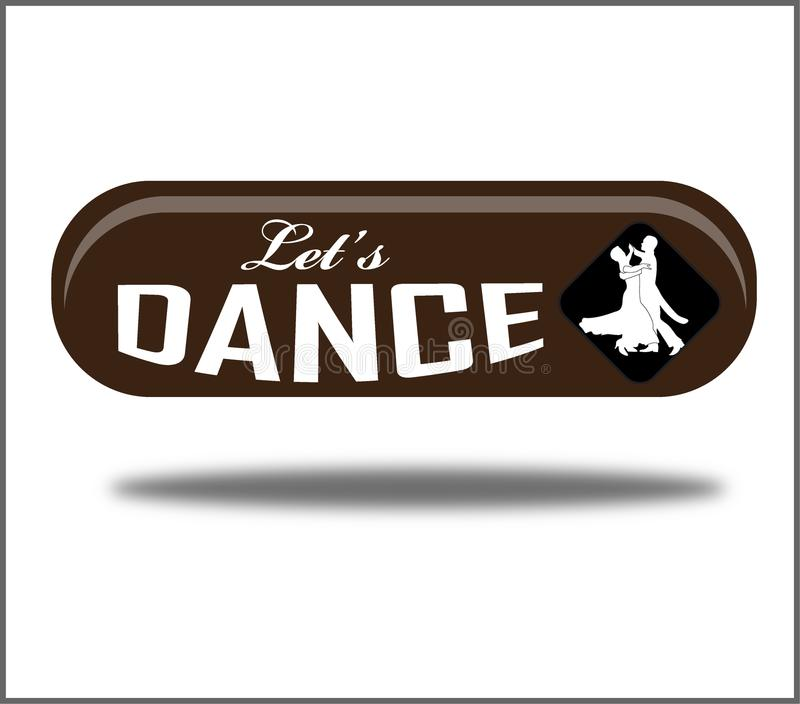 Let`s dance green creative realistic isolated web button royalty free illustration