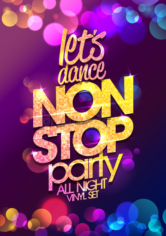 Let`s dance non stop party all night vector poster design with chic golden crystals glare headline stock illustration