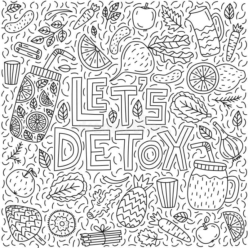 Let`s detox. Vector lettering with doodle illustrations vector illustration