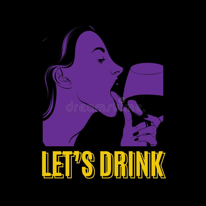 Free Let`s Drink. Vector Hand Drawn Illustration Of Pretty Girl Licking Wineglass Isolated Royalty Free Stock Photography - 138440087