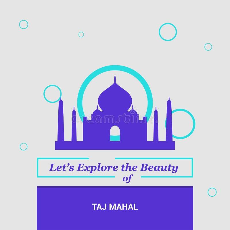 Let's Explore the beauty of Taj Mahal Agara, India National Land stock illustration