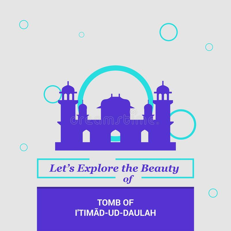 Let's Explore the beauty of Tomb of Itimad-ud-Daulah Agra, India. National Landmarks - This Vector EPS 10 illustration is best for print media, web design vector illustration