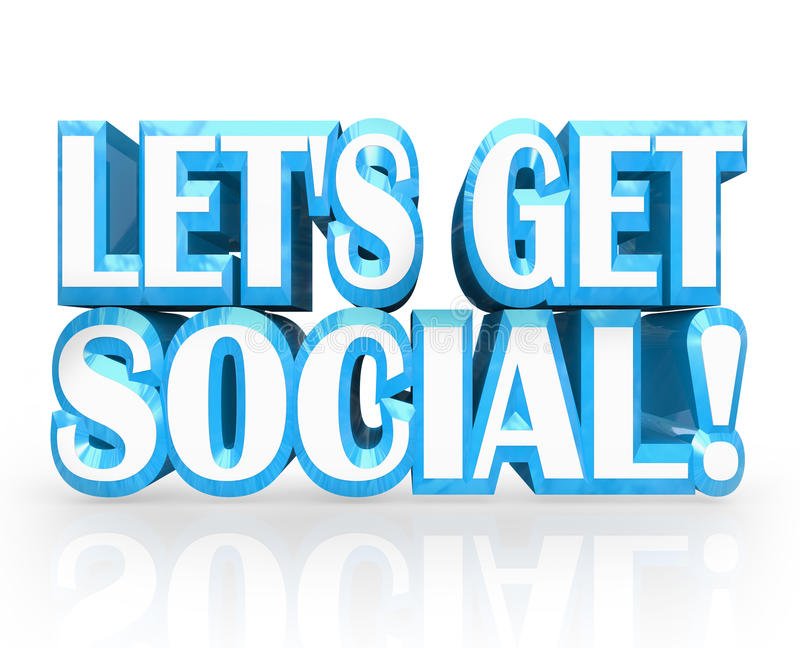 Let's Get Social 3D Words Invitation to Party royalty free illustration