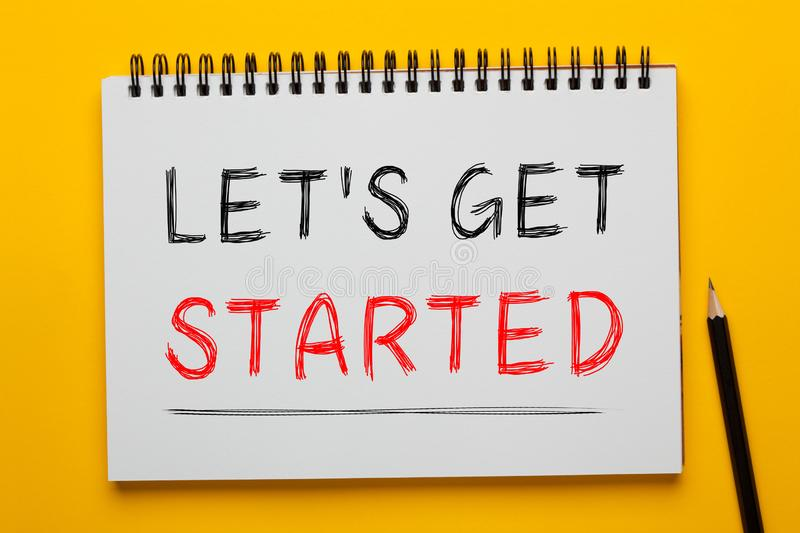 Let`s get started stock photo