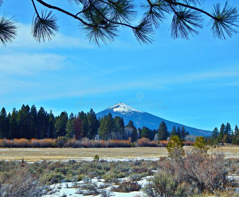 Let`s Get To the Point. Late winter view of Black Butte from Indian Ford Road - near Sisters, OR royalty free stock photos
