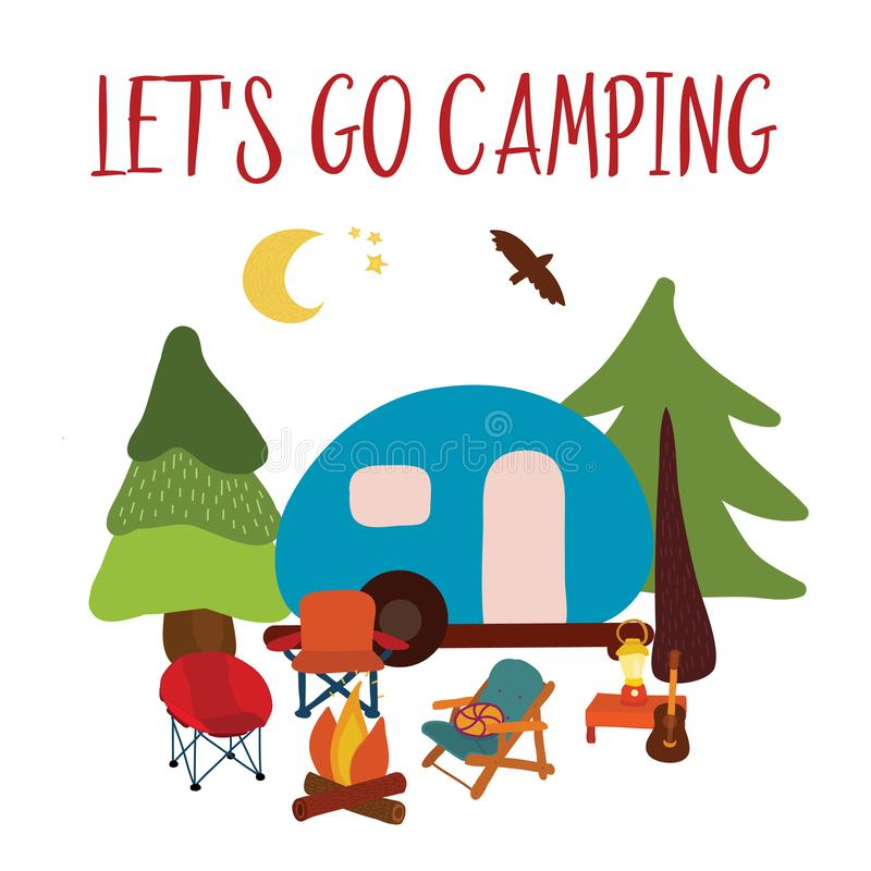 Let`s go camping Travel vector illustration - summer camping. Blue camping van with campfire, chairs and guitar. Forest adventure. Camp night scene. For cards vector illustration