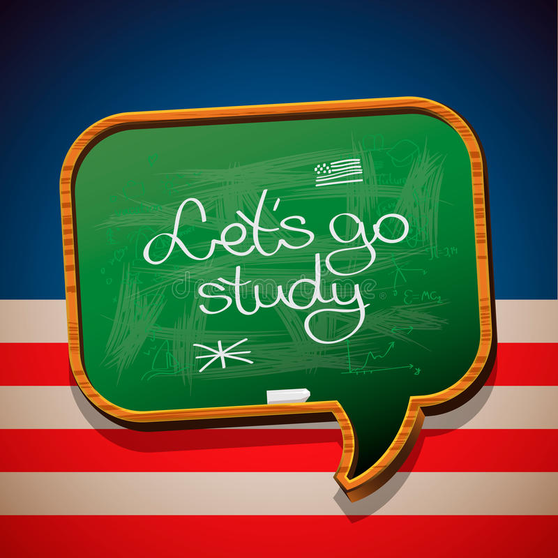 Let's go study - handwritten on blackboard vector illustration