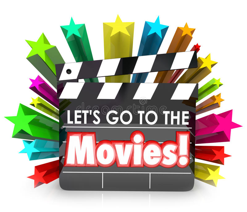 Let's Go to the Movies Film Clapper Board Watch Fun Entertainmen royalty free illustration
