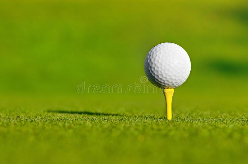 Let`s golf today!. Close up of a golf ball on a yellow tee stock photo