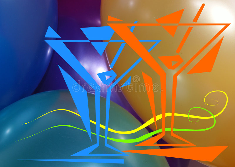 Let's have a party!. The soft shining colored balloons are a festive background. The coctails and swirling shapes create a festive image stock illustration