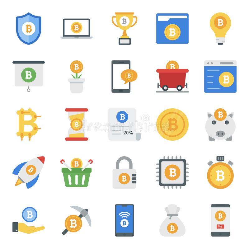 Bitcoin Business Flat Icons Pack stock photography