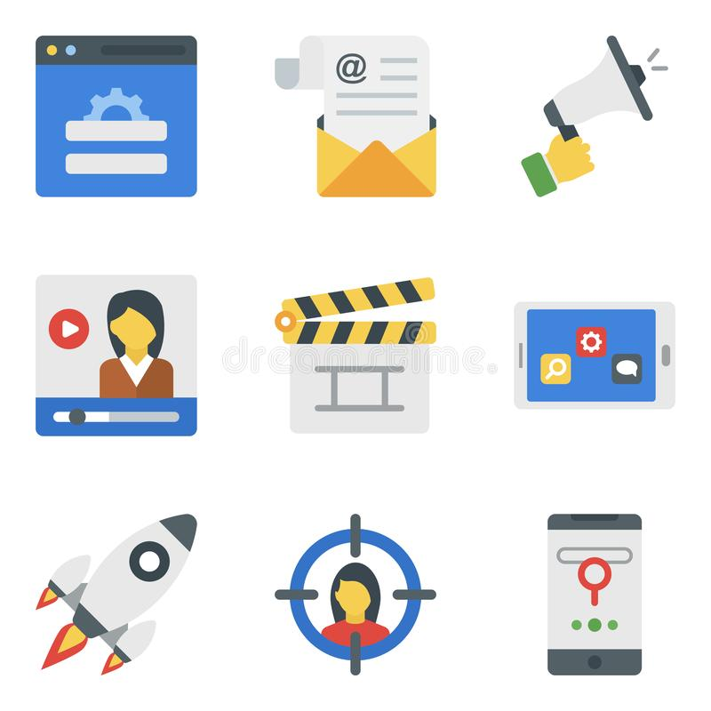 Business Marketing Flat Icons Pack royalty free stock image