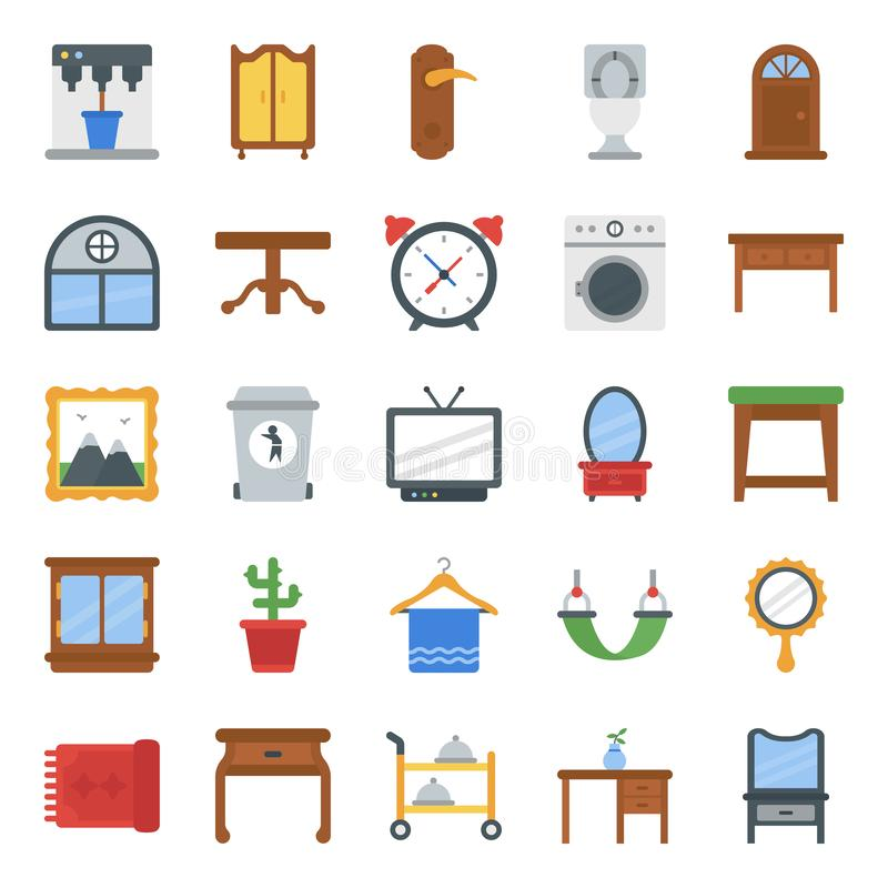Home Interior and Decorations Flat Icons Pack stock images