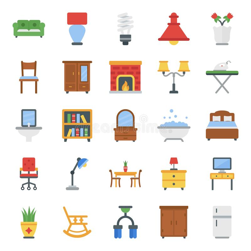 Home Interior Flat Icons Pack royalty free stock photography