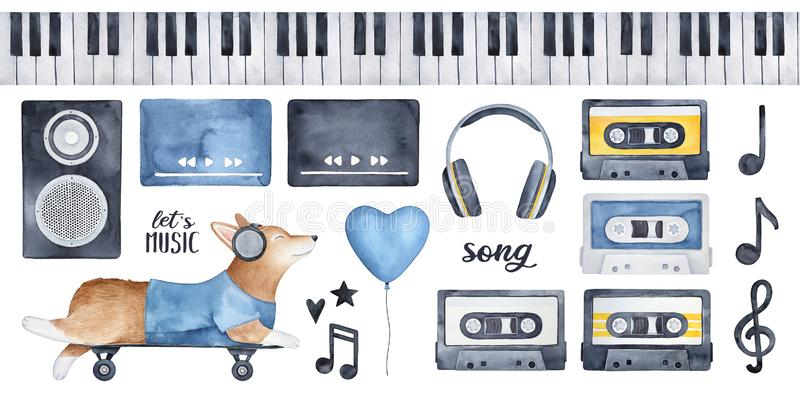 `Let`s Music` illustration pack with funny corgi dog character in earphones, various musical and celebration signs. royalty free illustration
