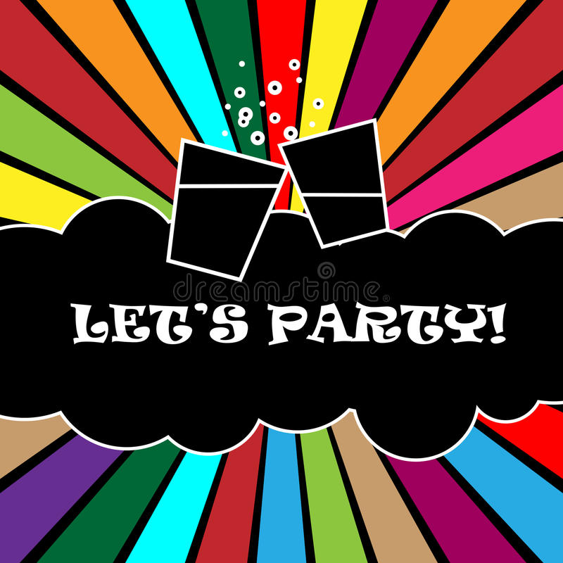 Let's party. Vector colorful card for party and other celebration.EPS file available