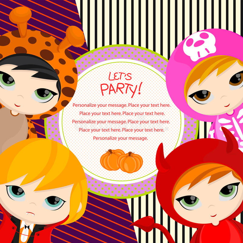 Let's party. Colorful and fun Halloween card. Sample text— personalize your message. Perfect for party invitation. Vector Illustration royalty free illustration