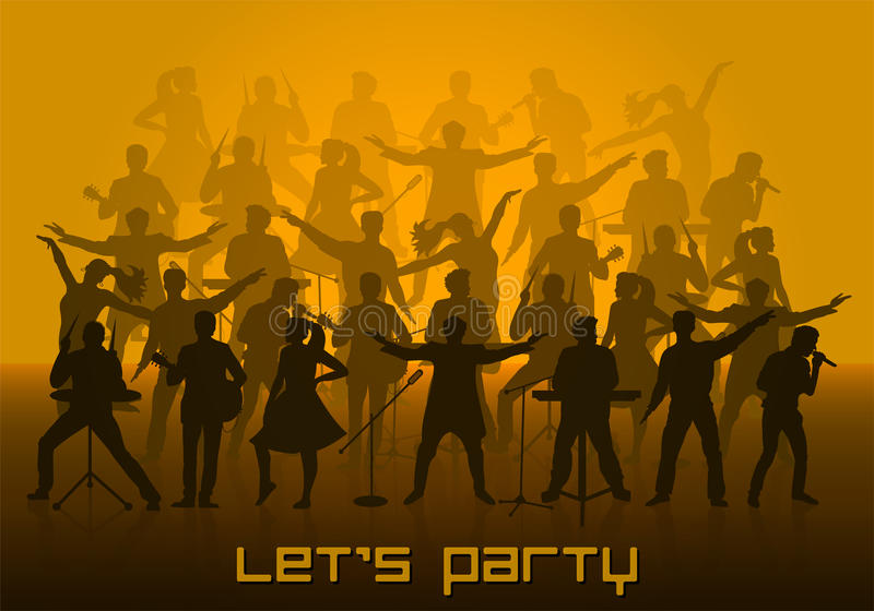 Let`s party concept. Set of silhouettes of musicians, singers and dancers. Vector illustration royalty free illustration