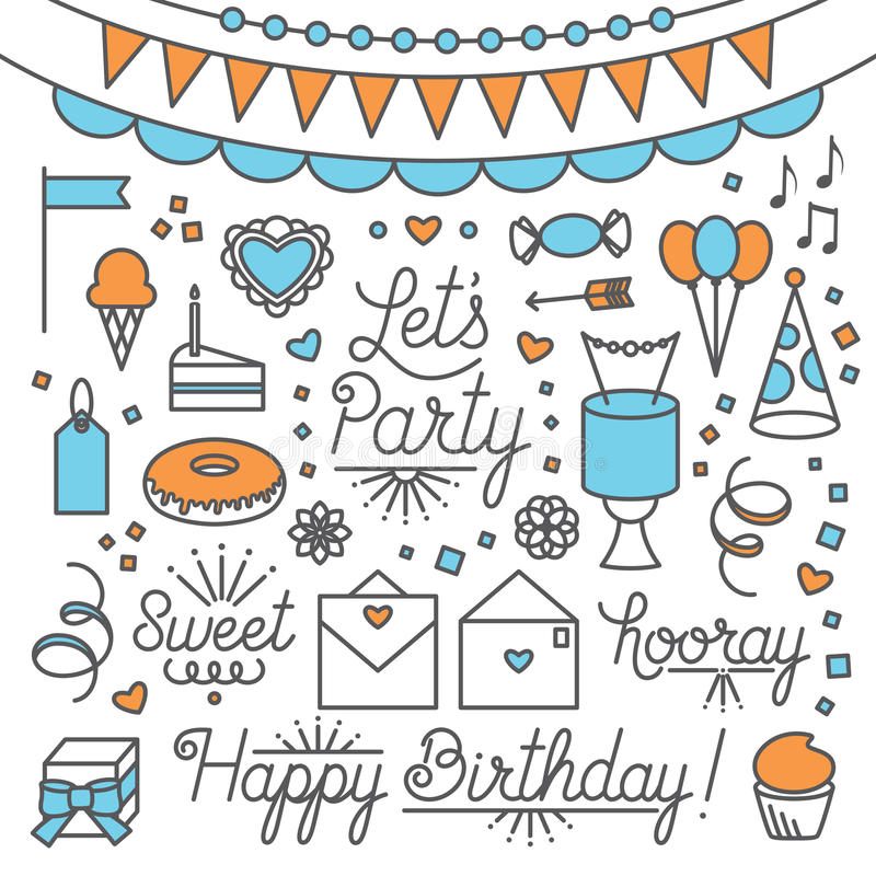 Let`s Party Illustrations and Type vector illustration