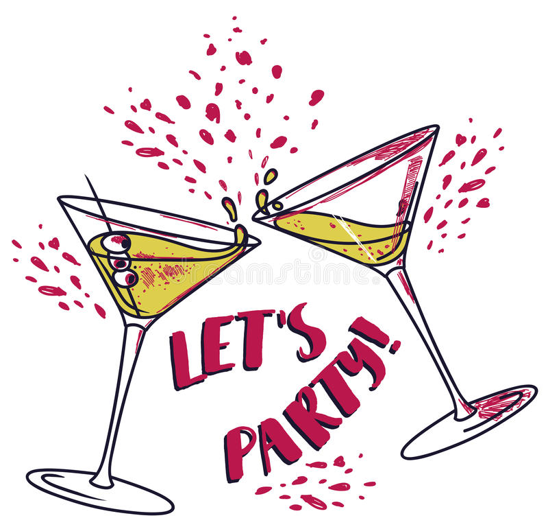 Free `Let`s Party!` Poster With Two Cocktails Stock Image - 94839981