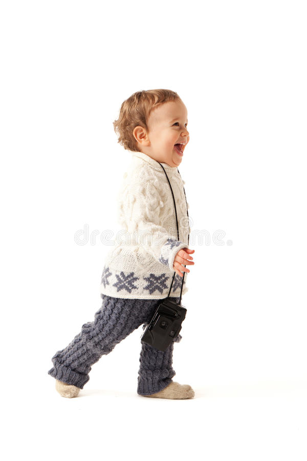 Let's play. Little boy is in hurry to photo you stock images