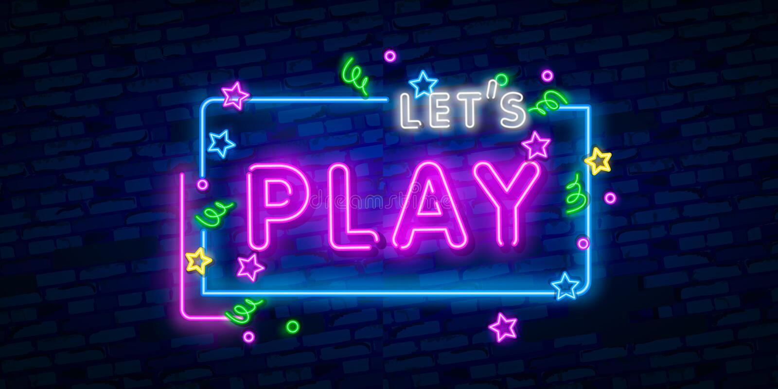Let`s Play neon sign, bright signboard, light banner. Game logo, emblem and label. Neon sign creator. Neon text edit vector illustration