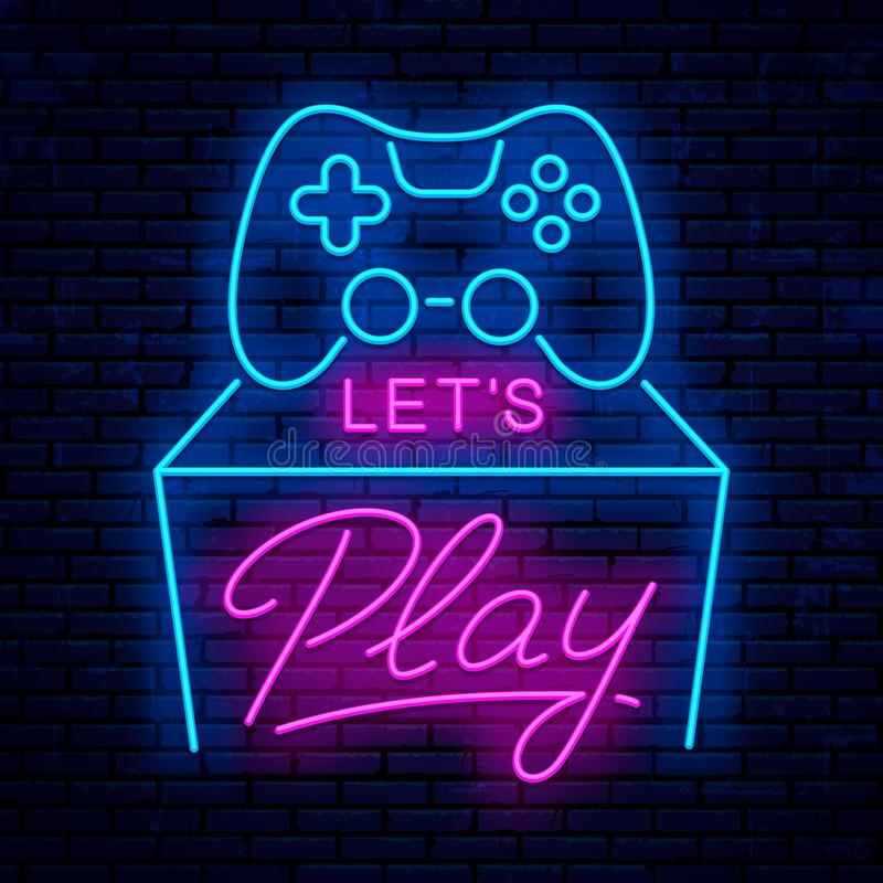 Let`s play. Neon sign design stock illustration