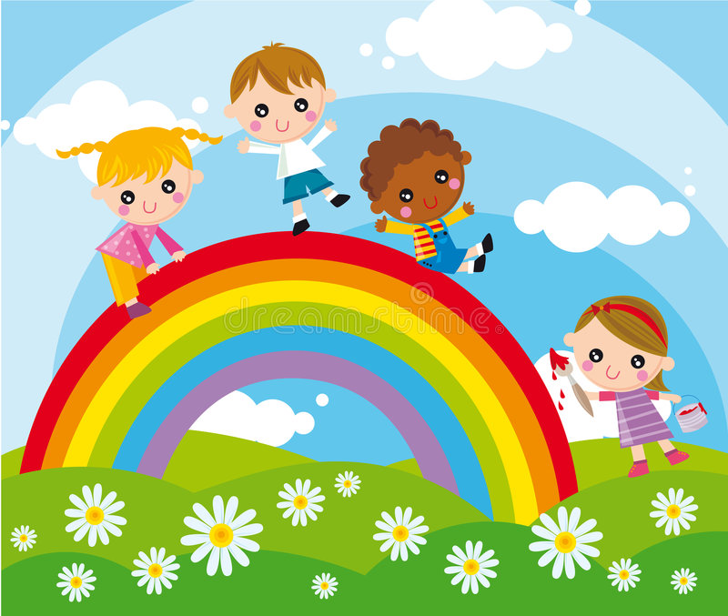 Let's play together!. Illustration of children and rainbow