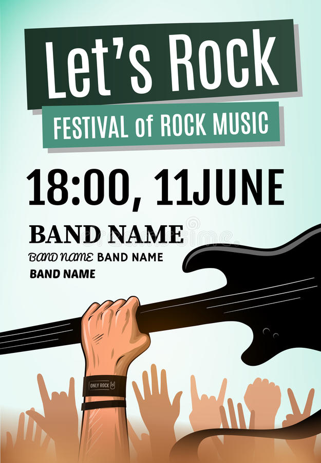 Let's rock festival poster. Vector illustration. EPS 10 vector illustration