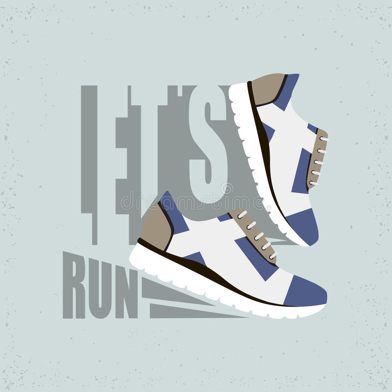 Flat vector illustration with Text - Let's run. Running shoes with shadow. Ready design for sport shop, etc. royalty free illustration