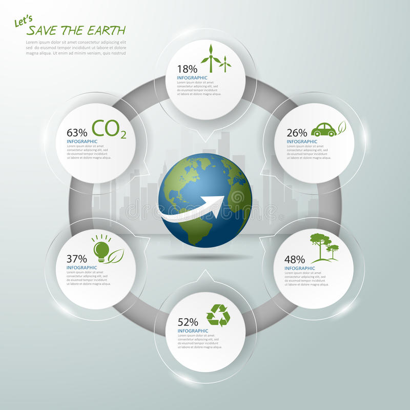 Let's save the Earth, Ecology concept infographics, Ecology icon stock illustration