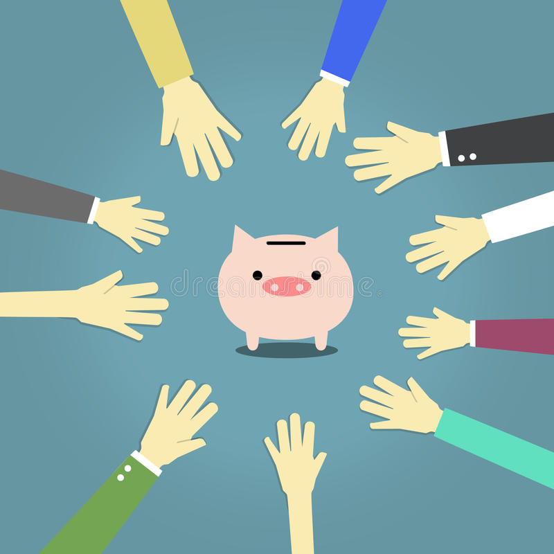 Let's save money. A lot of hand around pink piggy bank on blue background stock illustration