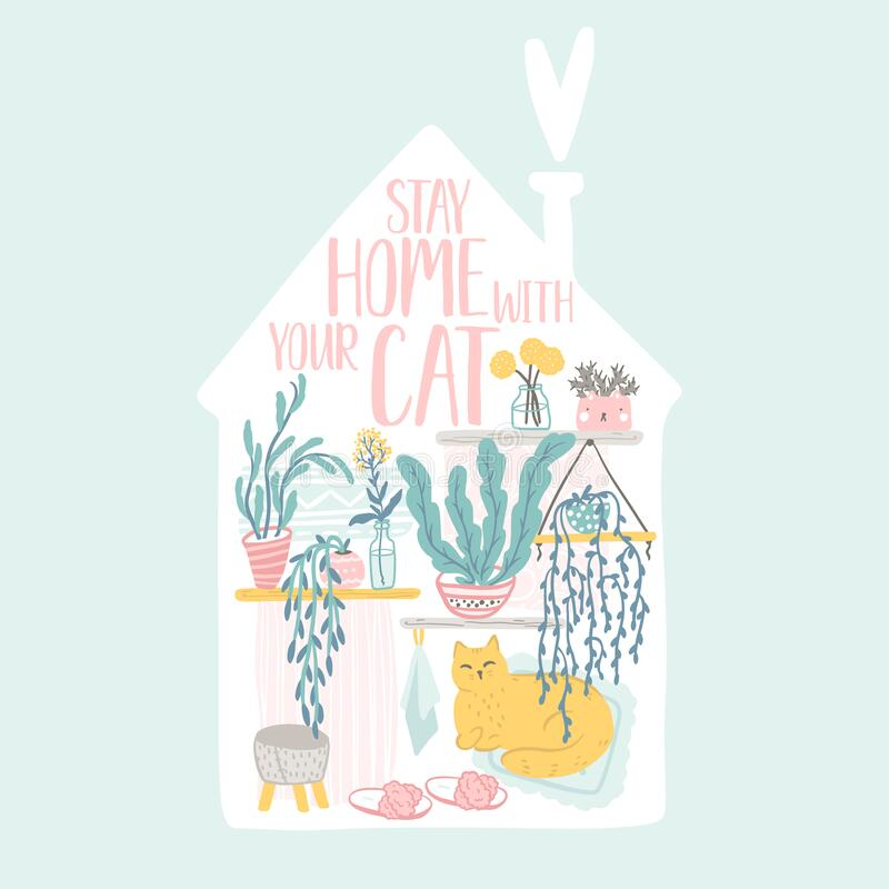 Free Let S Stay Home. Inspirational Card With Interior Elements, Home Plants And Cute Cat In Scandinavian Hand-drawn Style. Cozy Vector Royalty Free Stock Image - 182442076