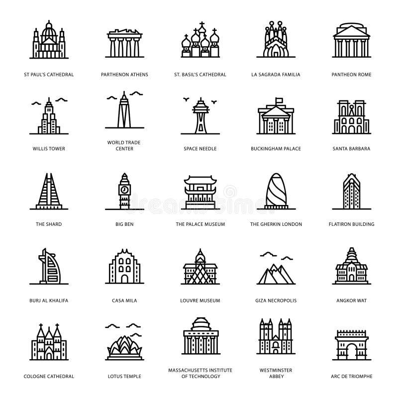 Historic Landmarks Line Vectors royalty free illustration