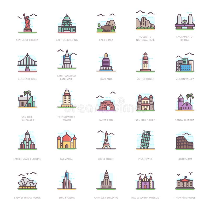 Landmarks Flat Icons. Let`s take a glance at a pack of landmark flat icons where you can find captivating and editable visual vectors. Garb and download it vector illustration