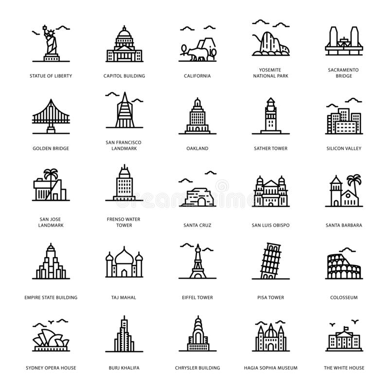 Landmarks Line Icons. Let`s take a glance at a pack of landmark line icons where you can find captivating and editable visual vectors. Garb and download it vector illustration