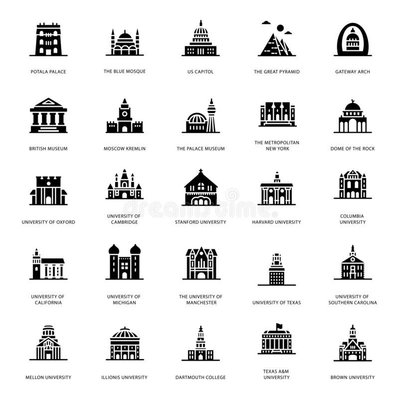 University Buildings Glyph Icons. Let`s take a glance at a pack of universities buildings glyph icons where you can find captivating and editable visual vectors royalty free illustration