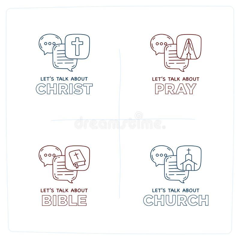 Let's talk about Christ, bible, church, pray doodle illustration stock illustration