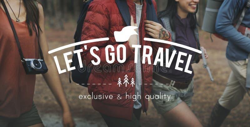 Let& x27; s vai conceito de viagem da viagem da exploração da aventura do curso imagem de stock