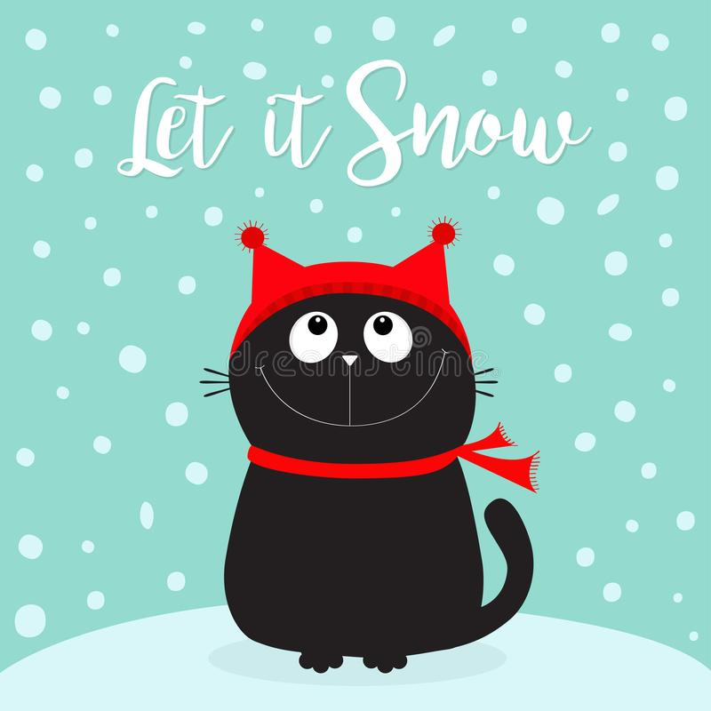 Let it snow. Black Cat kitten head face looking up. Kitty sitting on snowdrift. Red hat, scarf. Cute funny cartoon character. Merr. Y Christmas. Flat design royalty free illustration