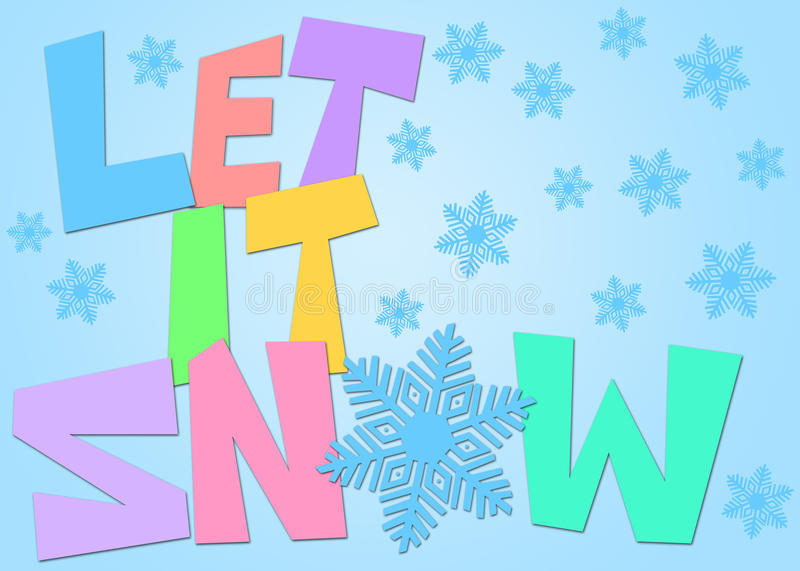 Download Let It Snow Freehand Drawn Text Snowflakes Color Stock Illustration - Illustration: 22267241