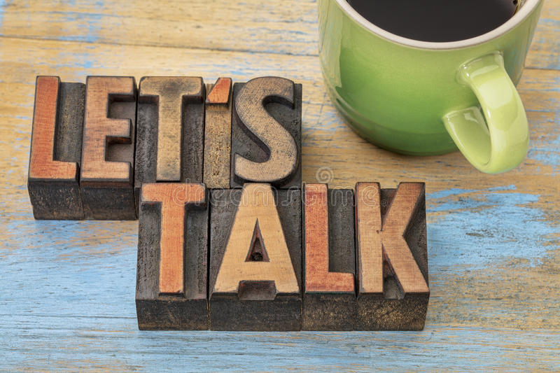 Let us talk invitation with coffee royalty free stock photography